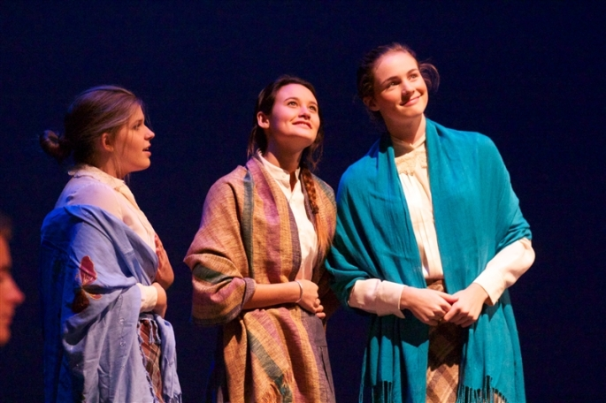 Kathryn Lynch '16, Bailey Cypheridge '15, and Laura Kirkland '15 perform a scene from Wilder's Our Town.