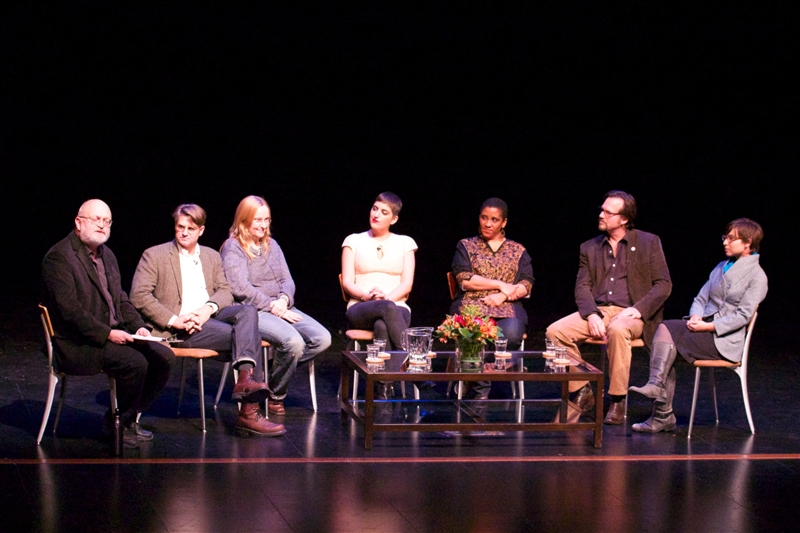 "J.B. White moderates the ""Storymakers Panel"" on Friday night. Pictured left to right Whitney Dow, Melissa Etheridge, Suleika Jaouad, Malika Ndlovu, Bill Paxton, and Sara Thacher CdeP 2000."