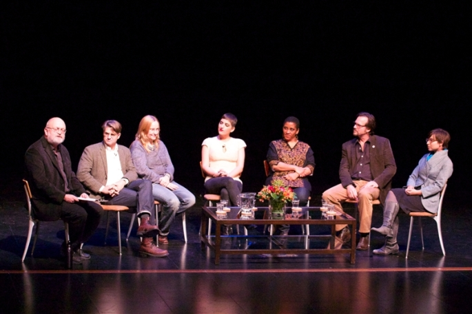 "J.B. White moderates the ""Storymakers Panel"" on Friday night. Pictured left to right Whitney Dow, Melissa Etheridge, Suleika Jaouad, Malika Ndlovu, Bill Paxton, and Sara Thacher CdeP 2000."