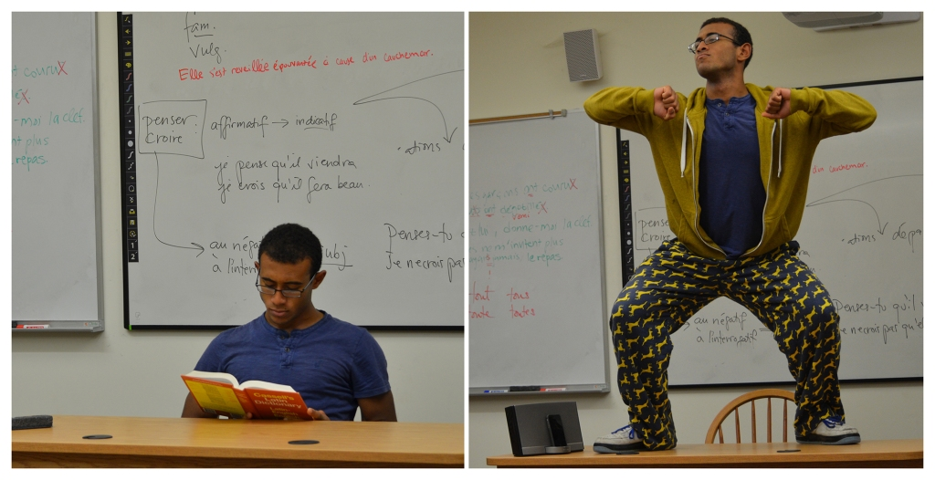 Raul Soto demonstrates appropriate (left) and inappropriate (right) classroom use. The enforcement of the not-new policy has drawn the ire of many students. Photo Credit Colly Smith '16