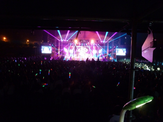 View from the sound box of the show's stage. Approximately 10,000 fans were on hand to watch. Photo Credit Greg Haggard