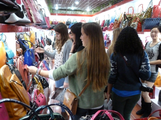 Shopping for handbags! The girls explored the variety of shopping experiences China had to offer. Photo Credit Gallia Vickery