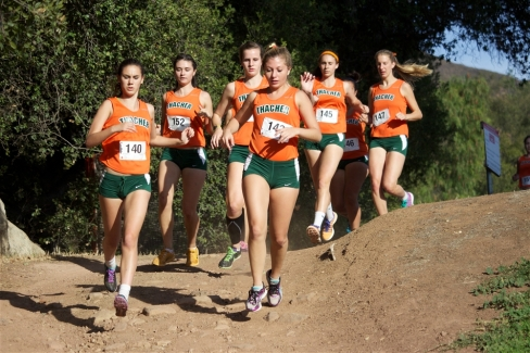 The Thacher Girls' Cross Country Team runs in a tight pack. The team fininshed 2 - 8 to score 20 points and win the league championships. Photo Credit Chris Land