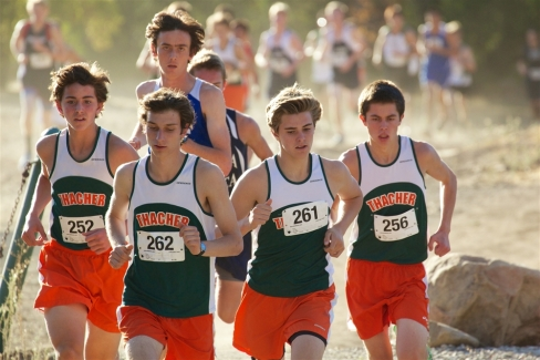 The Thacher boys start fast to push the competition. Peter Callan (from left to right), Simon Novich, Spencer McCune, and Kevin Griffee finish in the top five to help Thacher win the league championship. Photo Credit Chris Land