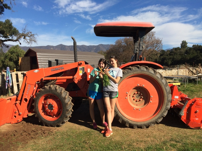 Sarah Metz '15 and Mia Voevodsky '14 pose by the tractor at Help of Ojai's Honor Farm site.