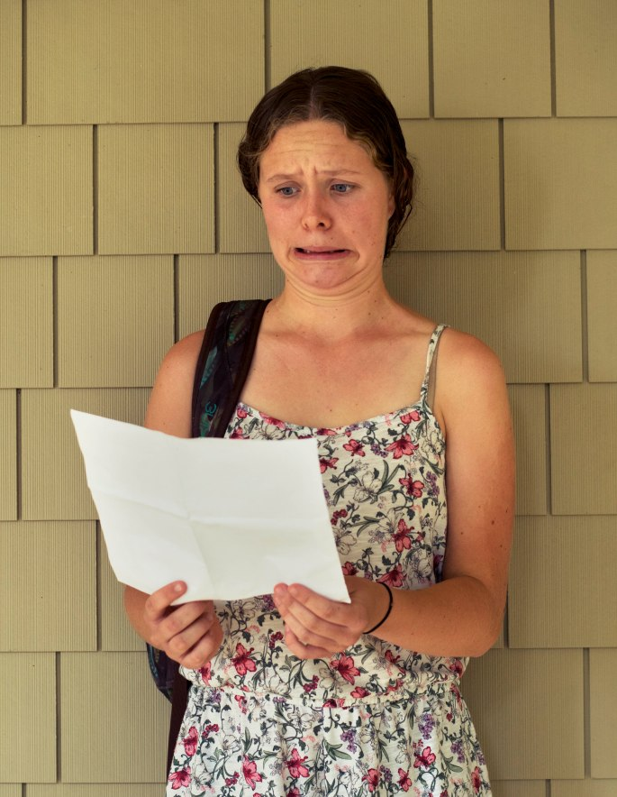 Casey Gaughan '16 ponders her new schedule between classes. Photo Credit: Colly Smith '16